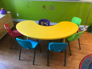 Daycare table with 6 chairs