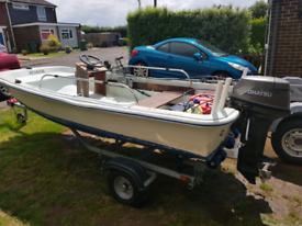 Dell Quay dory boat, Tohatsu 18hp and as new tralier