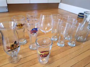 Wine glasses, decanter and beer glasses