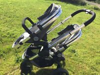icandy peach blossom 3 twin pram / pushchair in truffle, perfect condition