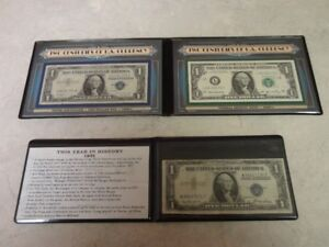1935 US $1 Silver Certificate in protective wallet plus a 1957