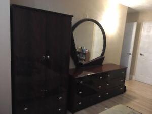 Bedroom set, dark wood