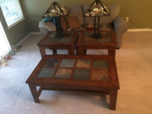 Coffee Table, End Tables, & Lamps