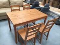 Table and 4 chairs. Good condition.
