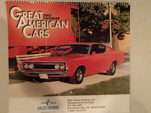 New 2002 GEAT AMERICAN CARS 12 Month CALENDAR. Issued by AKZO NO