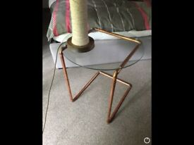 Hand made glass & copper table