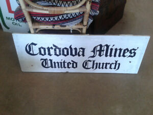 Cordova Mines wood sign