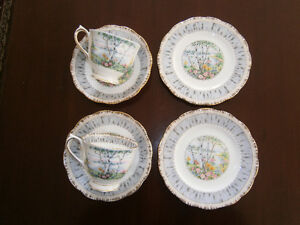 TWO ROYAL ALBERT SILVER BIRCH CUP & SAUCERS WITH PLATES