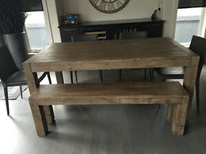 Urban barn - post & rail - dining table & bench