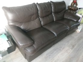 Brown Leather Recliner 3 seater sofa £150