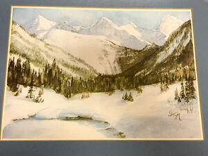 Framed Original Mountain Watercolour