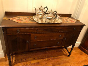 Gorgeous Solid Walnut Buffet and Hutch