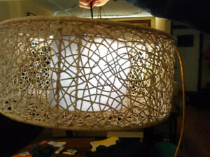 Very large white drum pendant light lamp 24 inch wide x 10 in hi