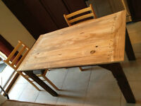 New Table for 4, Rustic Look. Handmade. 2 tone table 300$