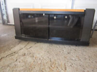 BLACK CORNER TV STAND WITH GLASS DOORS 2 SHELF AREAS INSIDE