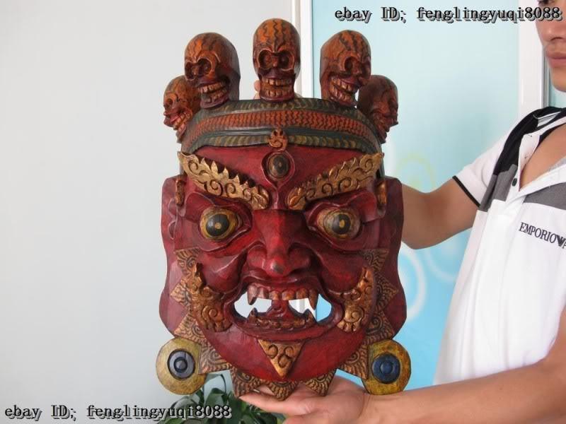 Tibet Folk Buddhism Old Wood Carve Painted Painting Mahakala Buddha Head Mask