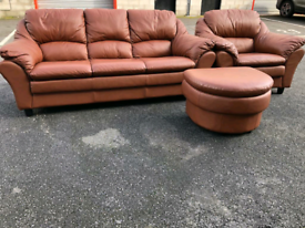 Brown Leather 3 Seater Sofa,Chair and Footstool