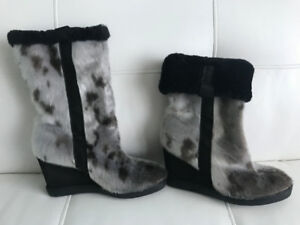 Seal Skin Wedge Heel Boots Womens
