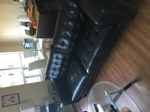 FURNITURE SALE - BLACK LEATHER COUCH X2 - RECLINER - LAMPS