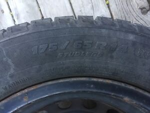 """Four 14"""" Michelin X-ICE winter tires(175/65R14) on Rims"""