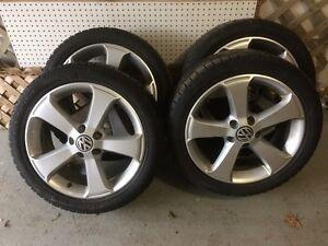Used VW rims with Pirelli snow tires Cambridge Kitchener Area image 1