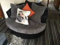 Corner Dino Sofa & Cuddle Chair, Black and Grey Corded