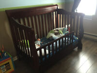 Dresser, change table, convertible crib with toddler bed kit