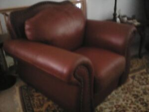 Leather Sofa and Chair - downsizing must go