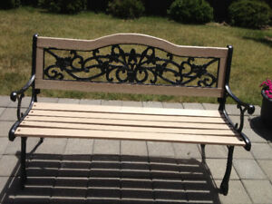 cast iron bench & wood garden bench in excellent condition
