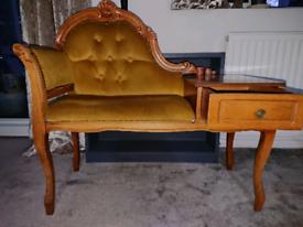 Vintage retro wooden telephone seat vgc