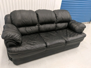 Black  Genuine  Leather  3   Seater   Sofa.  Free   Delivery.