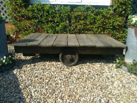 FLAT BED WOODEN TROLLEY / COFFEE TABLE