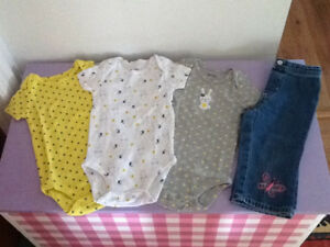 6 months spring/bunny onesies ans jeans