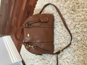 Coach brown Leather bowling bag with crossbody strap