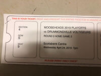 2 LowerBowl Mooseheads Tickets.  Wed April. 24.