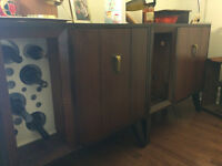 Vintage Mid Century Sideboard - 50s Old Marconi Record Player