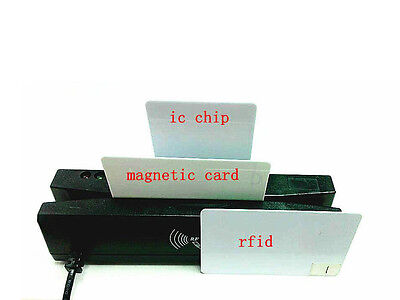 4-in-1 Card Reader Writer Encoder Support Magneticemv Ic Chiprfidpsam