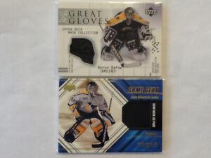 Hockey cards goalie memorabilia cards