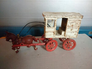 VINTAGE METAL TOY HORSE AND  MILK WAGON