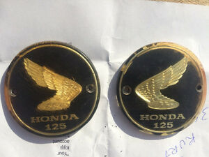 1967 Honda CB CL 125 OEM Gas Tank Badges Gold Leaf