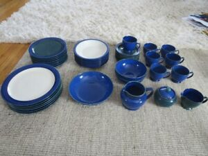 Denby Metz Stoneware Set Dishes and Glasses - 47 pieces