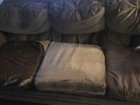 Brown couch, love seat, chair