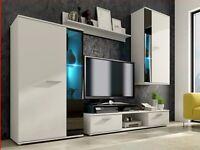 MODERN WALL UNIT , NEW, HIGH QUALITY FURNITURE FLATPACK TV UNIT 2X CABINET WARDROBE, HANGING SHELF