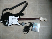 PS3 - Rock Band 2 disc, Guitar and Microphone