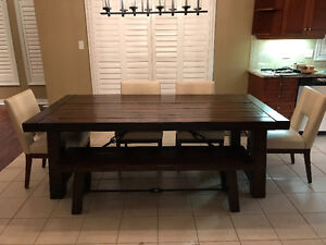 Pottery Barn Benchwright (Extending) Table, Bench, Pier 1 Chairs