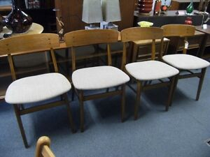 MCM  FOUR FARSTRUP TEAK BACKED DINING CHAIRS Peterborough Peterborough Area image 1