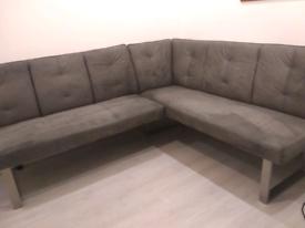modern high quality grey dinning bench corner sofa in suede
