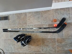 Hockey sticks, gloves, ball and soft puck.