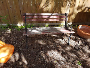 Wood Park Bench with Metal Ends
