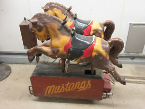 """Vintage Mustangs""  twin pony coin operated  kiddie ride Windsor Region Ontario image 1"
